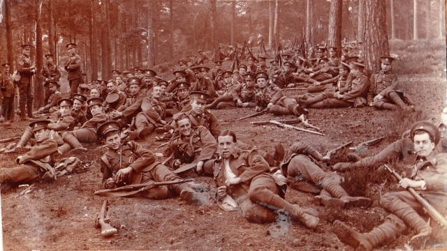 Salisbury Plain Resting 1914. Photo credit Artists Rifles Association