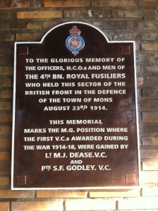 The memorial plaque on the railway bridge at Nimy on the outskirts of Mons