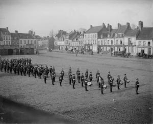 The Royal Guernsey Light Infantry on parade at Montreuil-sur-mer, 1918